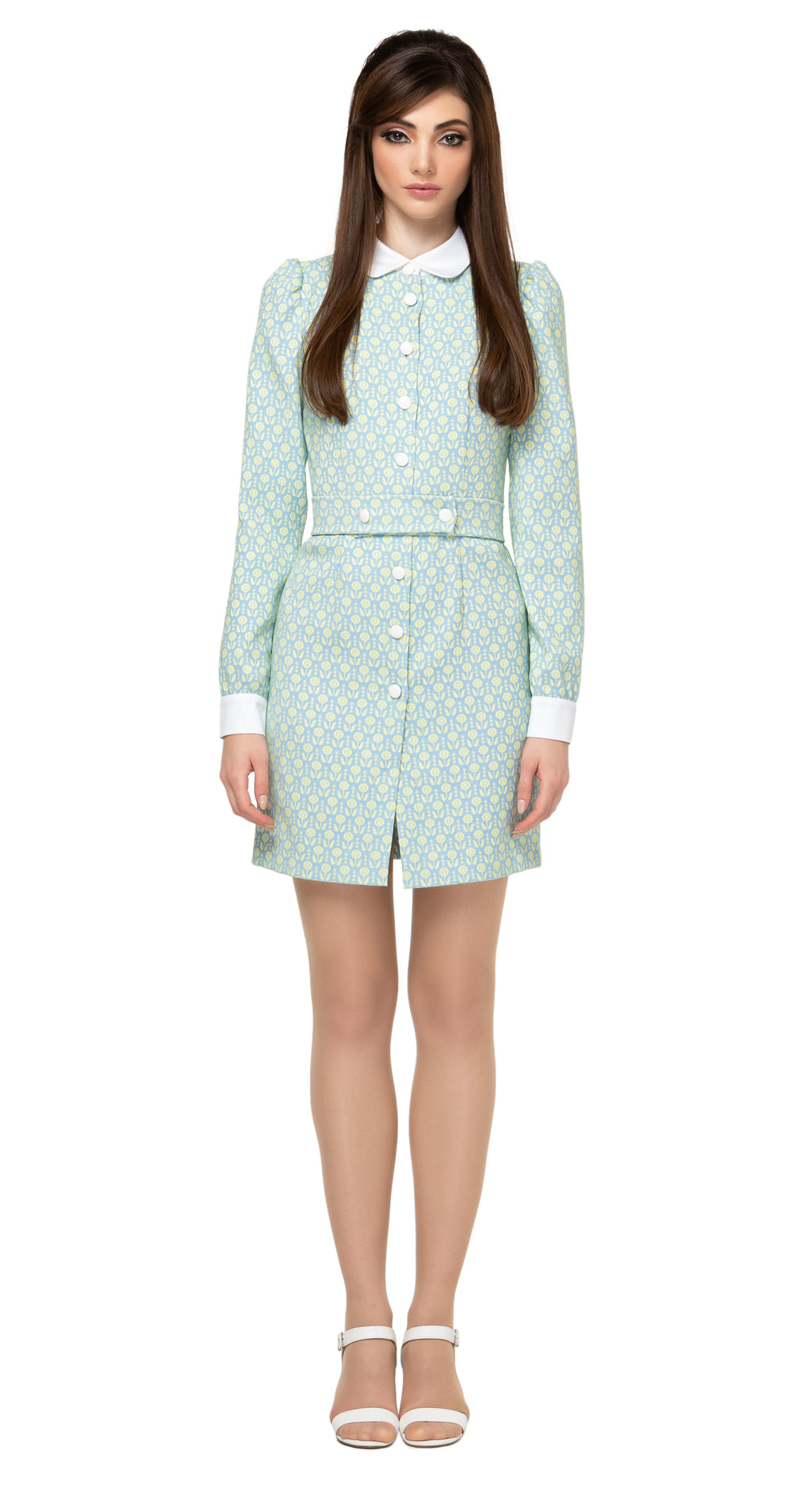 Classic 60s, fitted, button down Spring shirt dress with long, slightly puffed sleeve . 7 white front button closure with a detachable fabric buttoned belt, white collar and cuff detailing.  Also available in blue or green.