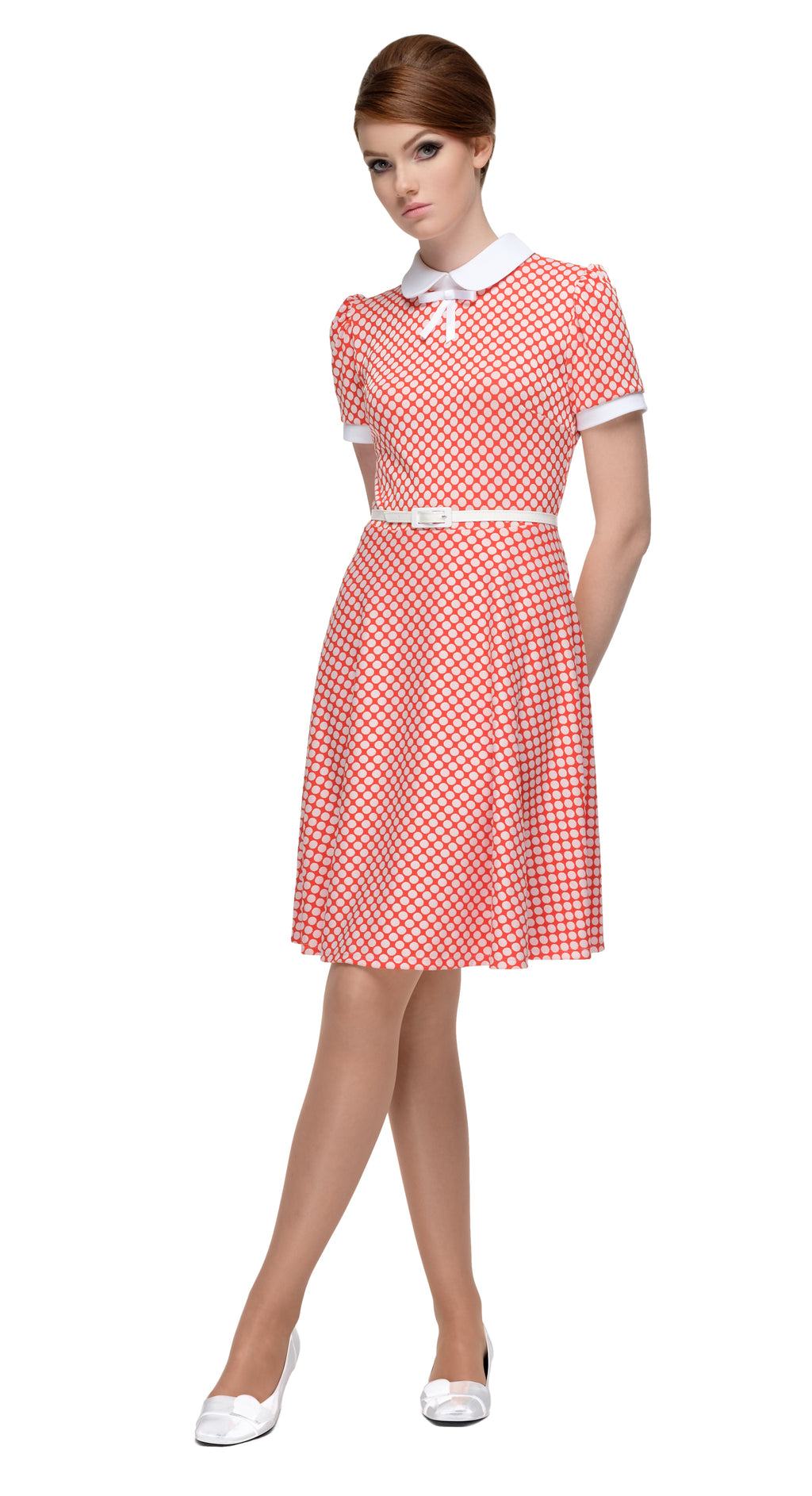 This red and white polka dot circle skirt Italian jersey dress is as adorable as it is flattering and comfortable. A vintage aesthetic bridging between late 50s Americana and early 60s Britain. It's a fun night out number, immediately flattering within the jersey's generous give. The contrasting cuffs and collar break up the polka dots beautifully whilst the faux patent leather belt and white ribbon bow provide a splash of standout detail.