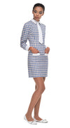 This long sleeved fitted, mod spring dress, is made from a luxurious French weave fabric. The steel blue makes the vintage circular pattern truly pop against the white contrasting cuffs and collar, functioning pockets and the detachable tie. Indisputably, a stylish statement maker to wear to all tomorrows parties.