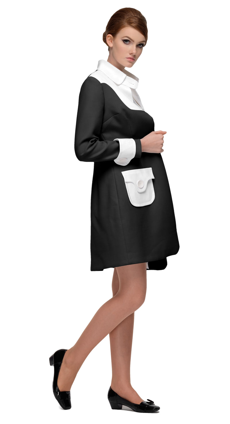 This fitted two tone sixties coat with functioning button pockets and collar closure is made from quality cream and black Italian mill fabrics that lends themselves beautifully to the eloquent shape of the cut. When paired with the matching dress of the same description, this set is an ideal consideration for both casual and formal events.  As a light coat, it's an ideal high fashion fair weather companion.