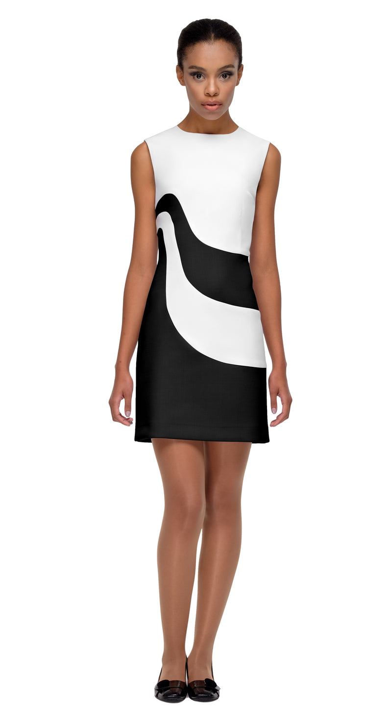 This fitted two tone dress, so immediately sixties and mod, is a true reflection of quality tailoring. The elaborate shape of the panels, within a simple but timeless fitted silhouette allows for the colour contrast to aid in making an entrance. Made of Italian mill fabrics, from a weight that works for both summer and Autumn, it's a style that can be dressed up or down by way of heels, flats or even vintage kicks.
