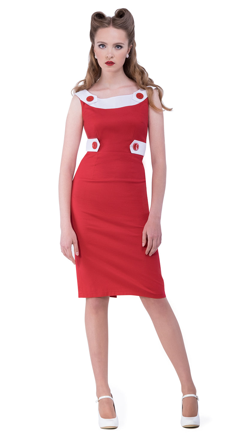 This red rockabilly 50s style Italian cotton full length dress from the fist season of Magdalena's Main Squeeze label provides a fitted bodice and full length pencil skirt, incorporating impacting detail by way of rounded white neckline, shoulder tab animated button closures and white side tabs with animated button detailing.