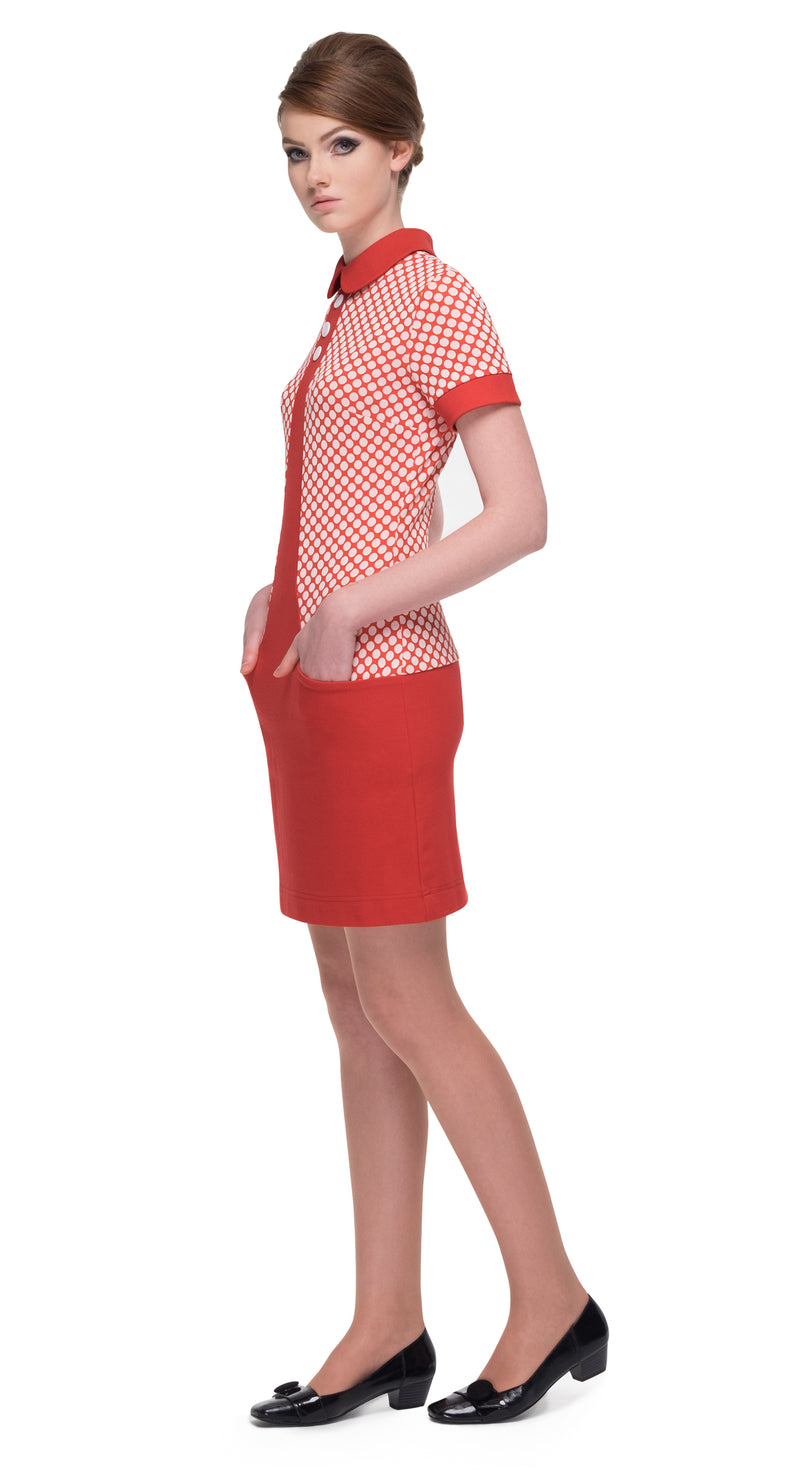 This short-sleeved polka dot pattern fitted Italian jersey dress allows for true comfort and generous give without compromising on an adorable and timeless look. In contrast to the polka dots, the red collar & cuffs break up the pattern. Three decorative button detailing and functioning front pockets are reminiscent of 50s Americana aesthetic designed around a flattering 60s fit.