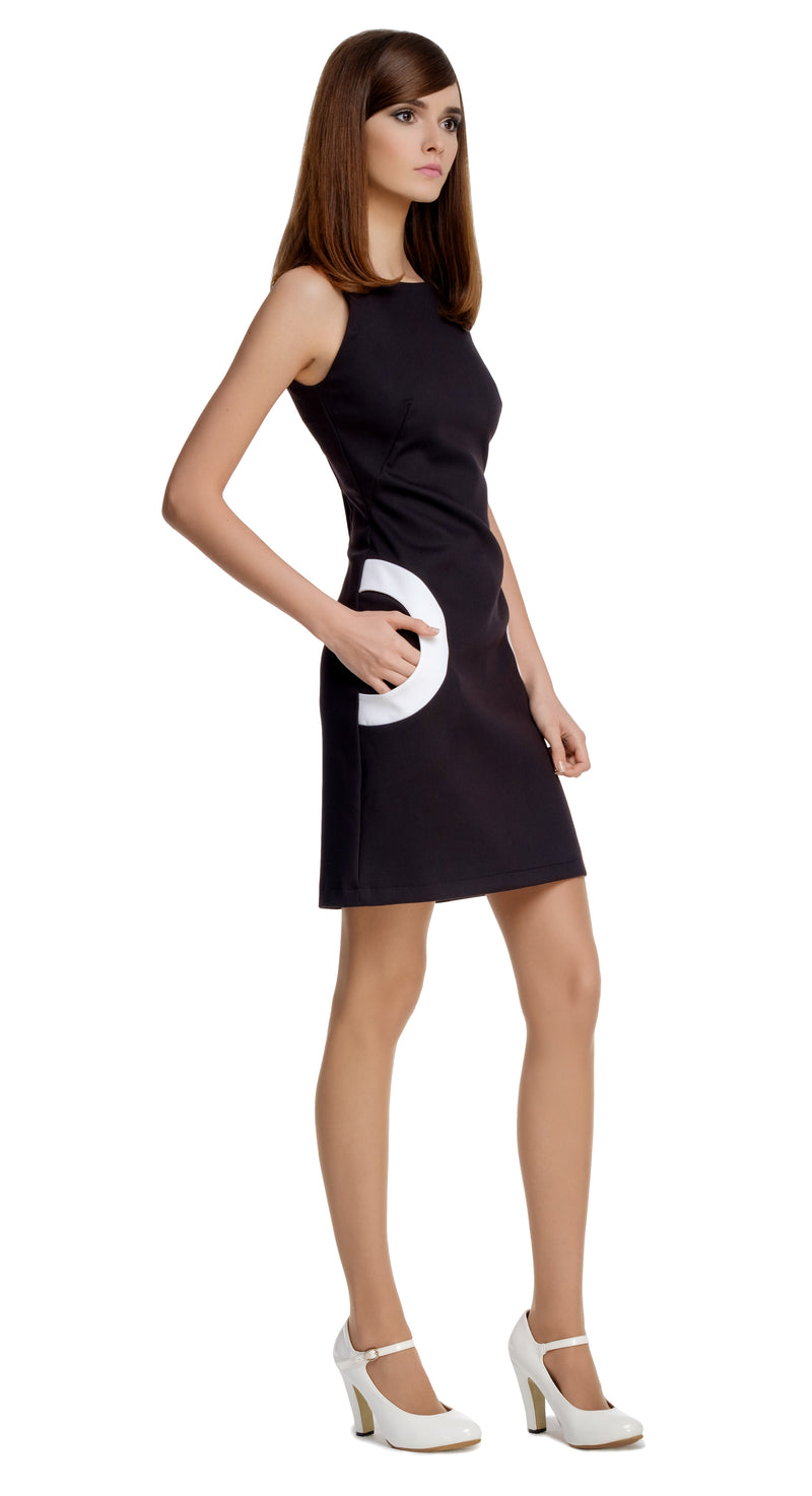 MARMALADE Black/White Half Circle Pocket Dress