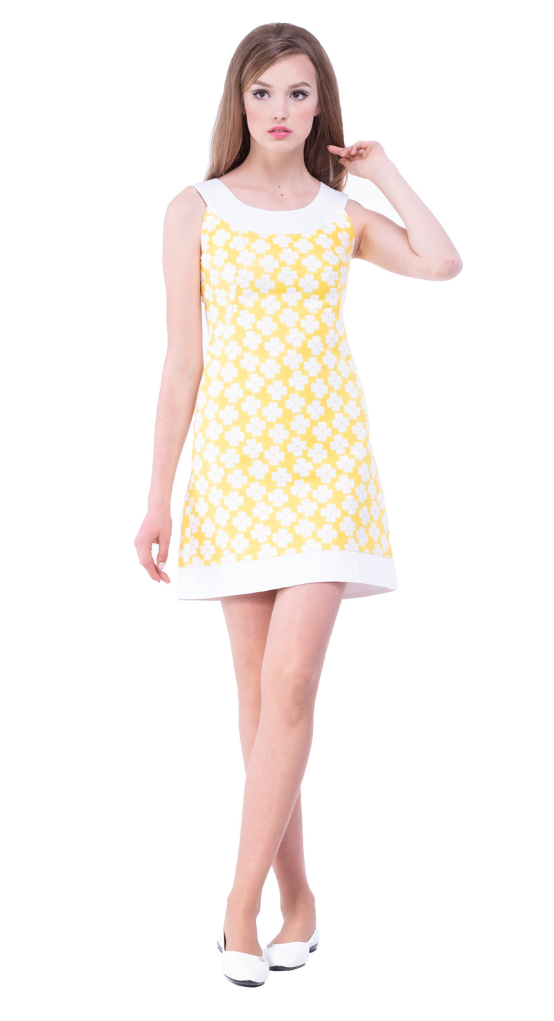 MARMALADE Yellow/White Flower Pattern Jacquard Dress: SIZE S