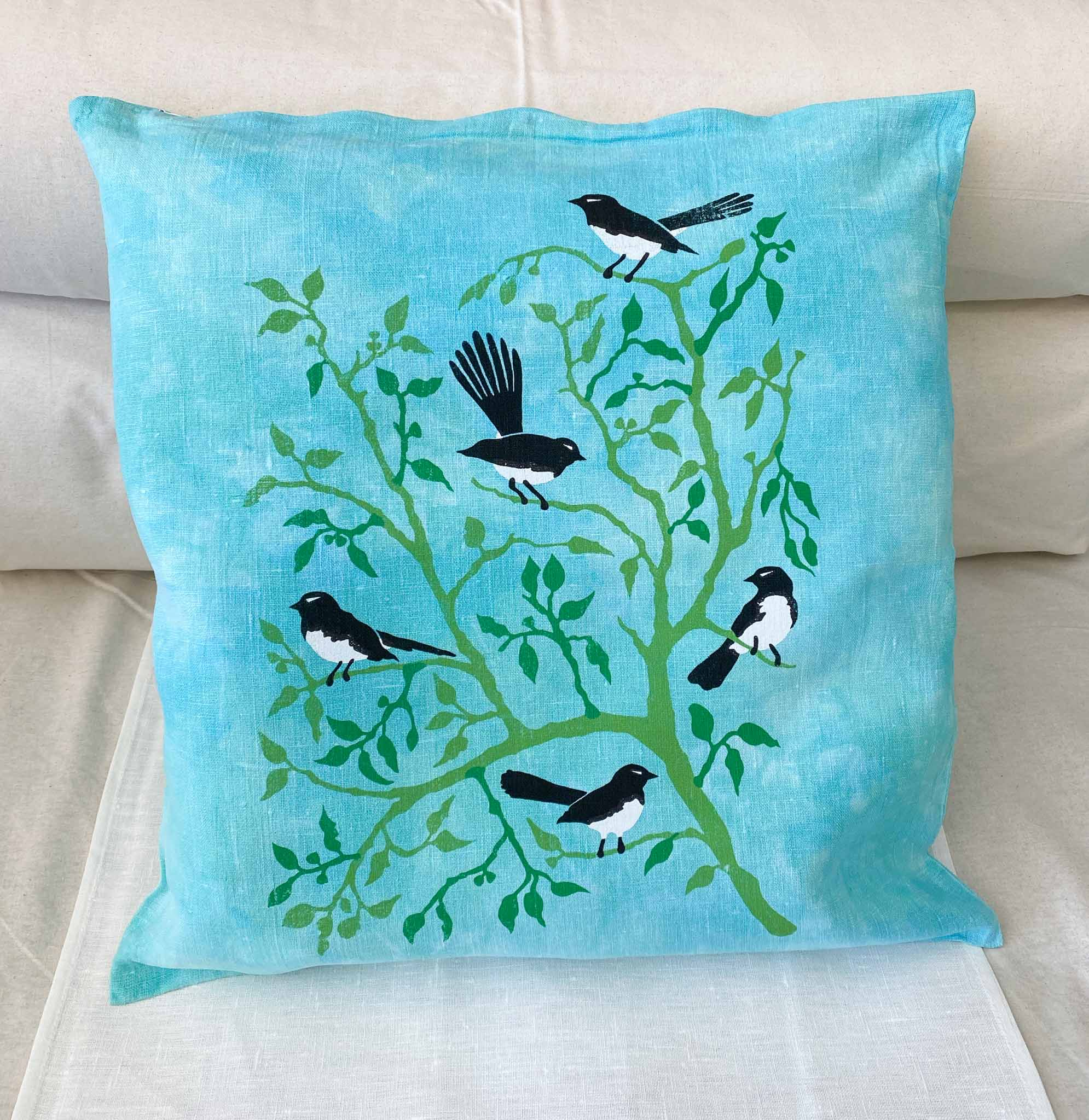Cushion Cover: Willie Wagtails