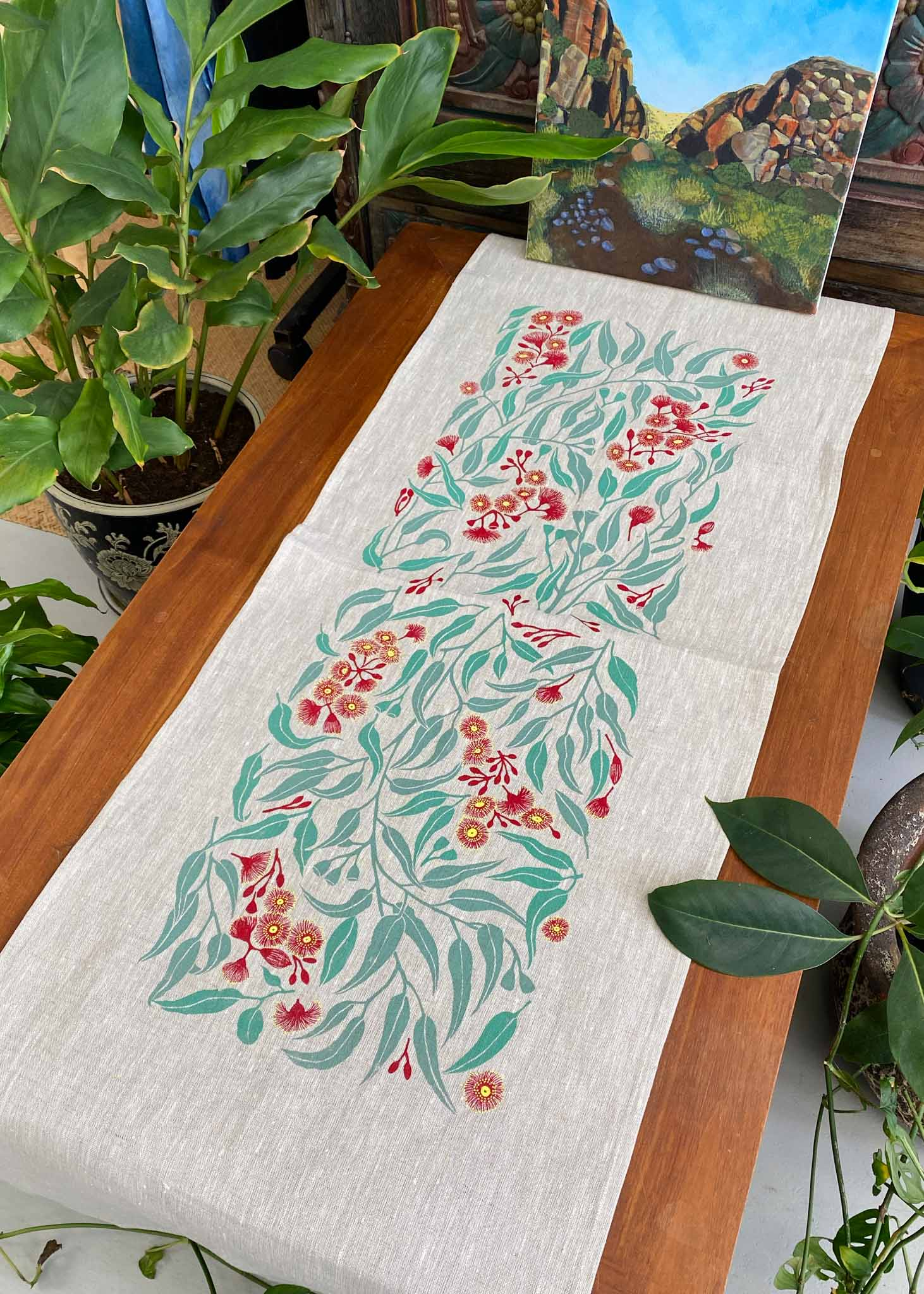 Table Runner: Flowering Eucalyptus