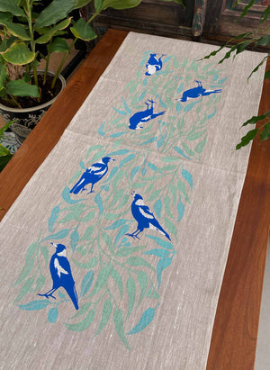 Table Runner: Magpies with Eucalyptus Leaves