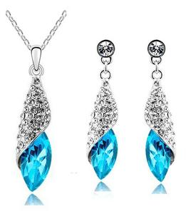 2PC Studded Cocoon Zirconia Earring & Necklace Set (16 Available Colors)
