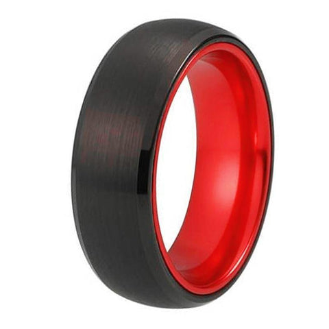 Black &Red Dome Black Tungsten Ring