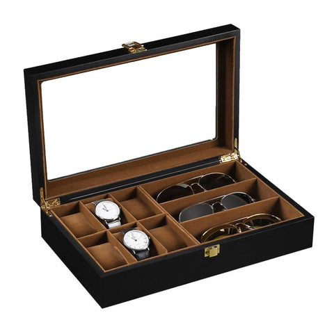 Mixed Wood and Carbon Watch and Eyeglasses Display Case (8 Available Style)