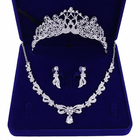 Peacock White Zirconia Stainless Tiara Set