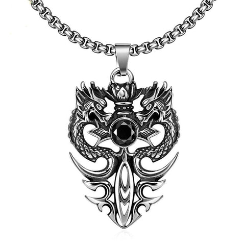 Flaming Dragon Black CZ Sword Stainless Steel Necklace
