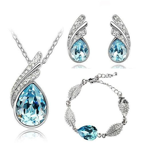 Studded Leaf Teardrop Stainless 3PC Jewelry Set (8 Available Colors)