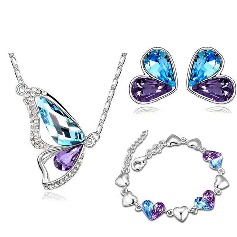 Heart Butterfly Colored Austrian Crystal Stainless 3PC Jewelry Set (3 Available Colors)