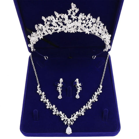 French Crystal Bead Verdure Stainless Tiara Set