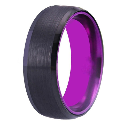 Black and Purple Brushed Tungsten Ring