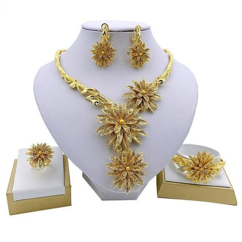 Gold Plated Stainless Steel Large Floral 4PC Jewelry Set