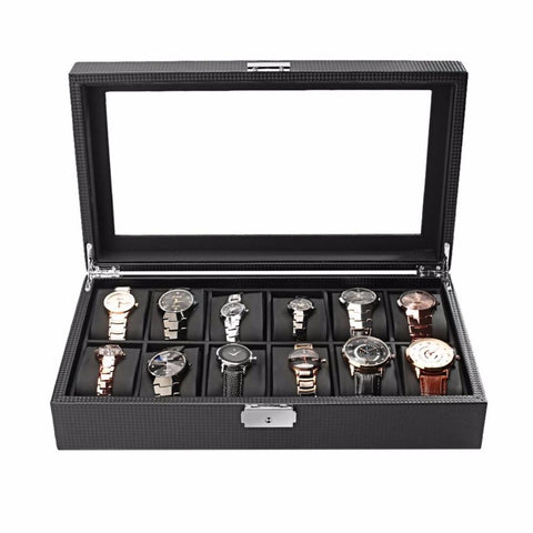 Twelve Compartment Black Carbon Fiber Watch Display Case