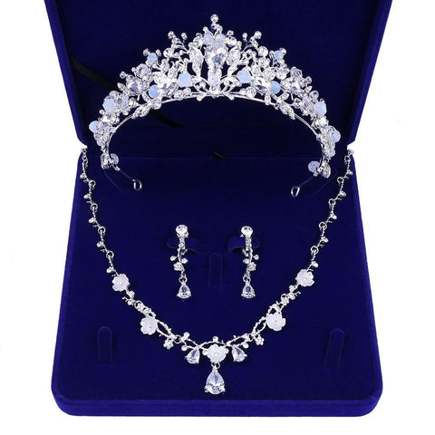 White Zirconia Bead Flora Stainless Wire Tiara Set