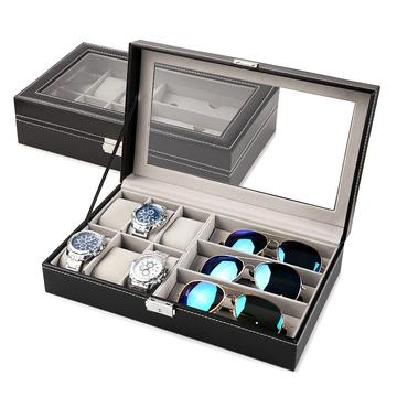 Black PU Leather Watch & Sunglasses Display Case (8 Available Size)