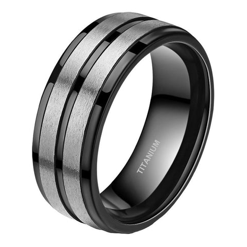 Brushed Silver Center Groove Black Titanium Ring