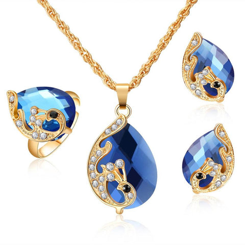 3PC Gold Plated Colored Pear-Cut Zirconia Jewelry Set (5 Available Colors)