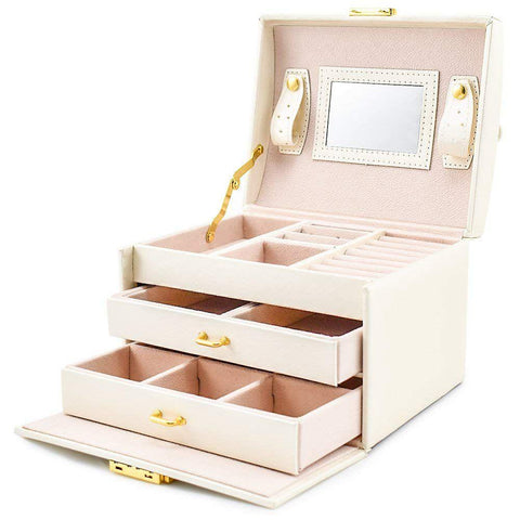 Three Layer PU Leather Jewelry Box With Drawers