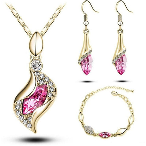 3PC Leaf Curl Cocoon Earring Bracelet & Necklace Set (11 Available Colors)