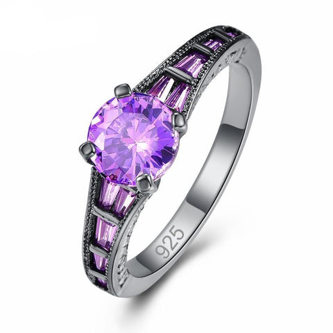 Lavender Circular Cut Zirconia Channel-Set Black Plated Sterling Silver Ring