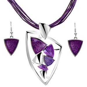 2PC Enamel Drop Earring Leather Necklace Set (10 Available Colors)