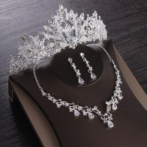 Ice Crystal Zirconia Bead Stainless Tiara Set (8 Available Style)