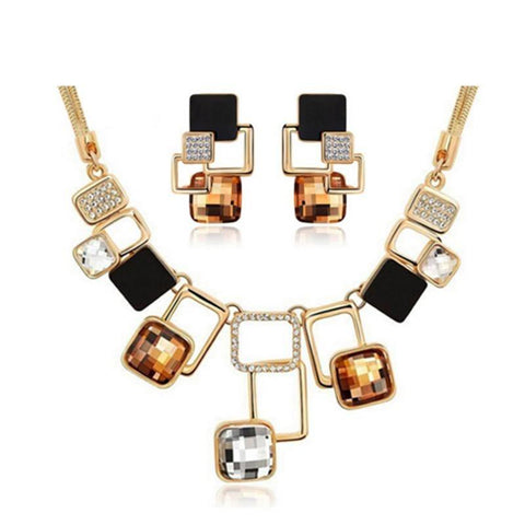 2PC Gold Plated Art Deco Austrian Rhinestone Jewelry Set (4 Available Colors)