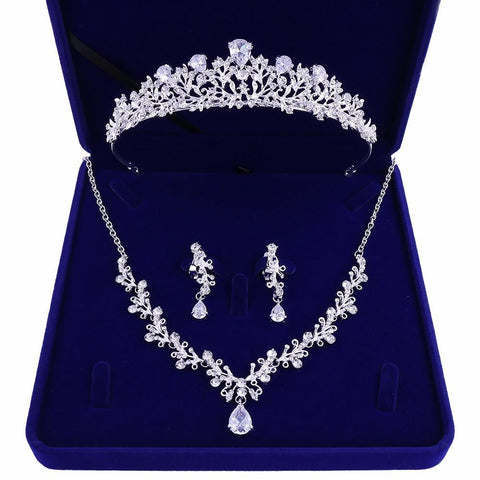 Floral Leaf Zirconia Teardrop Stainless Tiara Set (2 Available Color)