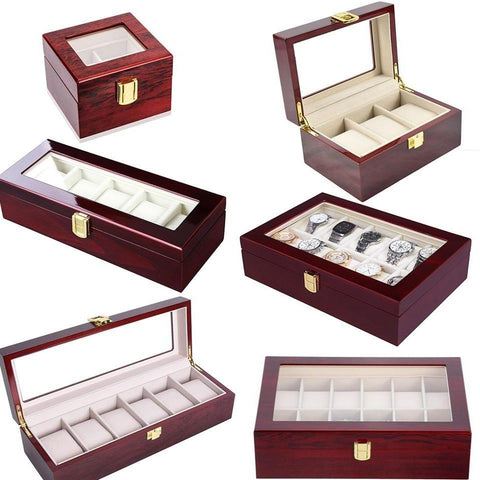 Multiple Slots Wood Display Watch Case (6 Available Size)