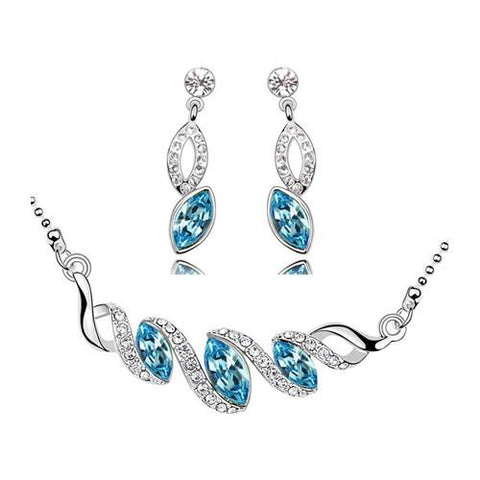 Coloured Marquise Stainless Earrings & Necklace Set (6 Available Colors)