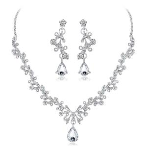 2PC Stainless Steel Decorative Brilliant Teardrop Earrings & Necklace Set