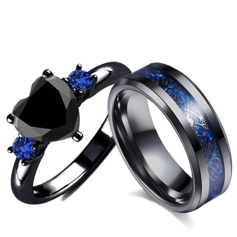 Sapphire Blue & Black Zirconia Celtic Knot Tungsten Carbide Ring Set
