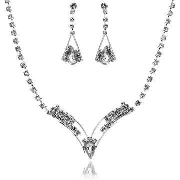 2PC Teardrop Zirconia Dangle Earrings & Necklace Set