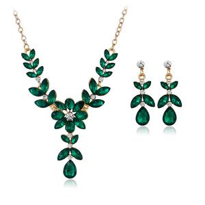 2PC Colored Zirconia Foliage Earrings & Necklace Set (8 Available Colors)