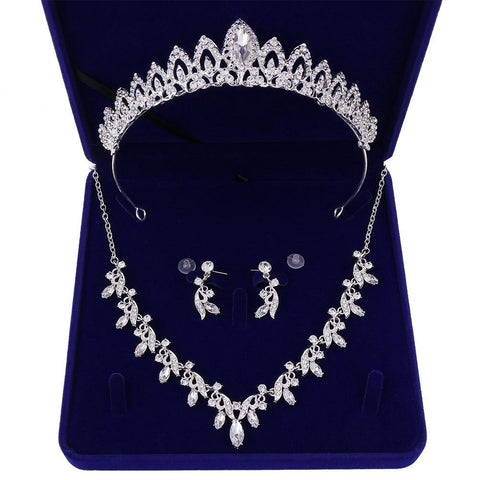 French Inspired Pavilion Marquise-Cut Zirconia Stainless Tiara Set