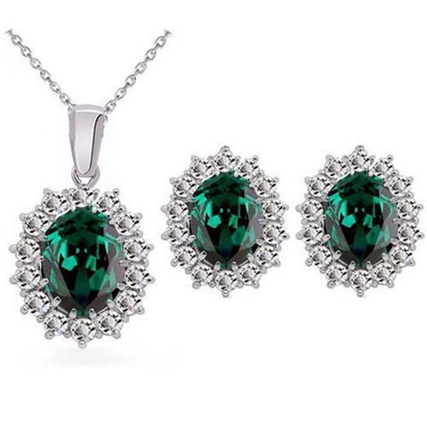 2PC Oval Cut Halo Setting Zirconia Earrings & Necklace Set (5 Available Colors)