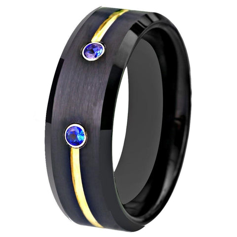 Gold and Blue Zirconia Brushed Tungsten Ring