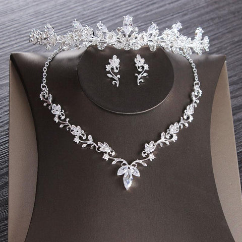 Princess Type Floral Bud Stainless Tiara Set