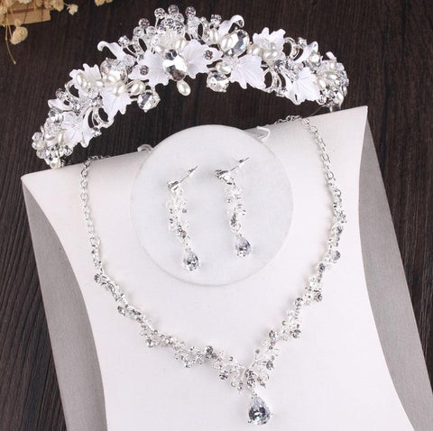 White Sprig Zirconia Stainless tiara Set (2 Available Color)