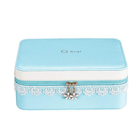 Charming Pated PU Leather Lace Zippered Jewelry box (2 Available Color)