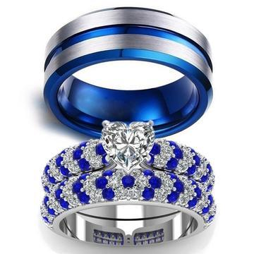 Four Prong Pavé Blue and White CZ Tungsten Carbide Ring 3pcs Set