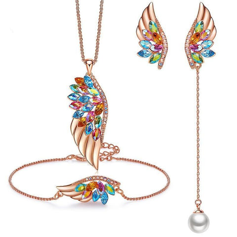 3PC Rose Gold Pearl Zirconia Wing Earrings Bracelet & Necklace Set