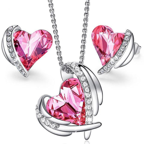 2PC Plated Zirconia Heart Earrings & Necklace Set (2 Available Colors)