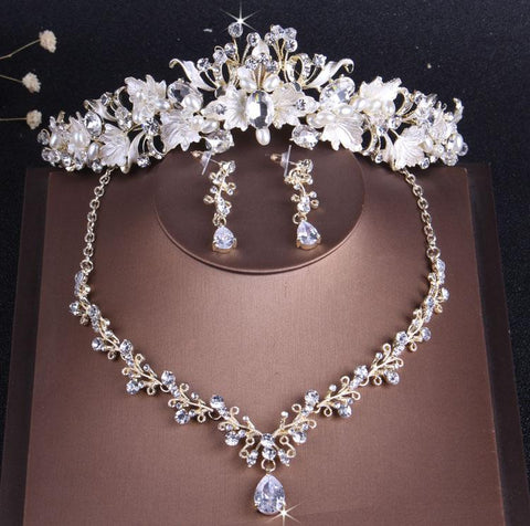 White Foliage CZ Hairband Tiara Set (2 Available Set)